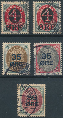 Denmark 1882/1912 - Coat of arms in oval and overprint - Facit 46a/b, 47/49 50b/c 52a/b
