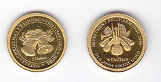 "Nauru – 5 dollars (2 coins) 2008 ""Christmas, Weihnachten, Navidad, Joël"" and 2009 ""Investment Philharmonic 2009"" – Gold"