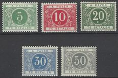 Belgium – Postage due stamps OBP no. TX12 to 16