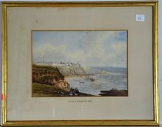 Lot of 4 watercolours House in Bay H.B Davies. Flat Landscape  John S Atherton, Cullercoats Unknown, Hens in Farmyard Unknown