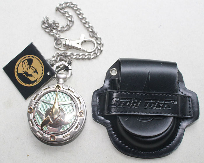 "Franklin Mint 2002 - pocket watch - Star Trek ""Klingon Bird of Prey"" with chain and belt pouch"