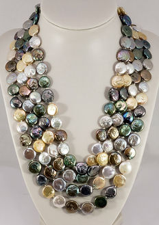 Cultured pearl necklace, multicoloured, diameter: 10.0 - 12.0 mm from South East Asia