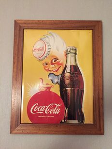 XL Coca Cola 70s metal sign in oak frame 37 x 49cm advertising  Oryginal  signatured number by AFFICHES ATAR ,GENEVE