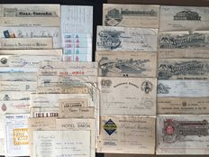Collection of 46 invoices, bonds, delivery notes - From Germany, France, Switzerland, Spain, Argentina and other countries - 1886, 1897-1905, 1915, 1921, 1930 - Economy, industry, company, fairs, medal, share certificates, stamps, lieferscheine, rechnunge