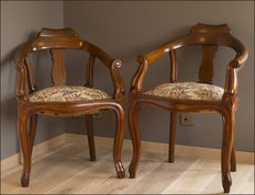A pair of Louis Philippe style mahogany hairdressing chairs - France - at the end of the 19th century