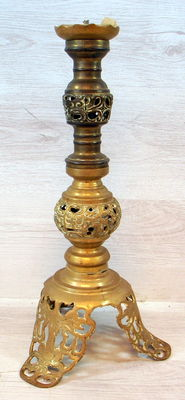 Antique brass openwork candlestick, brass, the Netherlands, ca. 1900