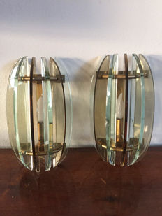 Unknown designer – Veca, pair of wall sconces in glass and brass