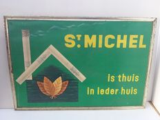 Advertising sign St. michelin old cardboard. 1963.