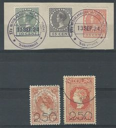 The Netherlands 1920/1924 - Sale release and show stamps - NVPH 104/105 + 136/138