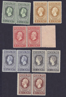 The Netherlands 1913 - Independence - NVPH 90 to 95 in pairs.