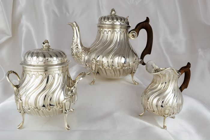 "Sterling silver ""égoïste"" tea set, L. Lapar, France, late 19th century"