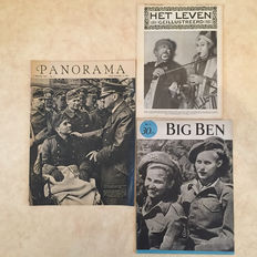 Magazines; Lot with 76 original editions of the illustrated magazines 'Het Leven', 'Panorama' & 'Big Ben'- 1940/1945