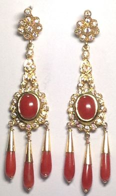 Gold earrings with Mediterranean red coral and zirconias