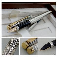 Parker 75 Sterling Silver Cisele Fountain Pen 14K Medium Nib | Flat Tassies