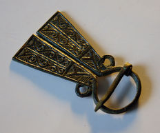 Early medieval silver plated bronze Omega Viking fibula, - 60 x 35 mm