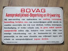 Enamel sign Bovag Liability - Limitation and indemnification-Ca 1950s