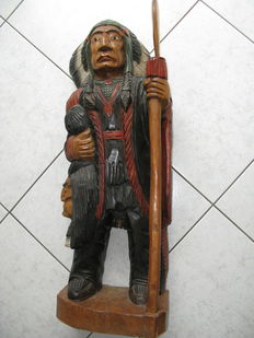 Solid wooden Indian and head