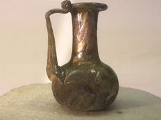Roman glass handle vial - h 80mm x 60mm