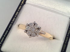 18 kt yellow and white gold ring with diamond of 0.42 ct