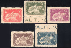 Lieutenancy, 1945 - CO.RA.LIT. Cyclist on geographical map - Complete set of 5 values - MNH