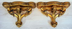 Two gold-plated wooden wall brackets - Italy - ca. 1930