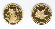 "Cook Islands – 1 dollar (2 coins)  2007 and 2014 ""25 Years Maple Leaf"" and ""The Walking Liberty"" – Gold"