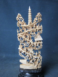 Antique ivory Cantonese temple scene – China – circa 1920
