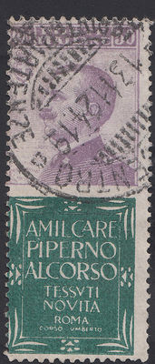 Italy, 1924. 50 cents - Advertising stamp - Piperno (Sassone #13)