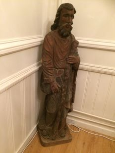 Large wooden statue of Saint Anthony, probably France – circa 1880