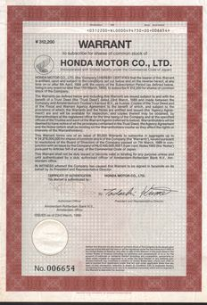 Honda Motor Co. Ltd. - 1989 - Warrant to subscribe for shares of common stock  JPY 312,200