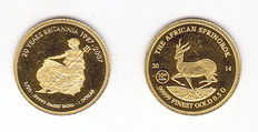 "Gabon and Fiji – 1000 Francs 2014 ""The African Springbok""  and 1 dollar 2007 ""20 Years Britannia"" – Gold"