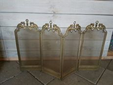 4-part fireplace screen with griffins in brass - ca. 1920