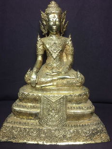Buddha / bronze and gold-plated, Rattanakosin style - Thailand - second half 20th century.
