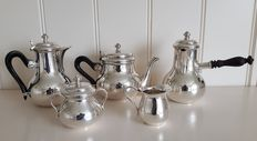 Christofle five pieced coffee and tea set with chocolate pot model Albi with wooden handles.