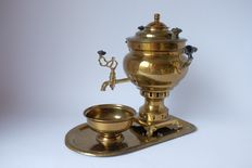 Coppered Art deco faucet jug with plateau and drip tray-Germany-early 20th century