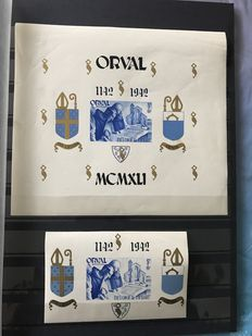 Belgium 1936/1948 - Selection of blocks with a.o. Orval with overprint and Charleroi - OPB 6A/26