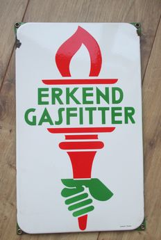 Enamel sign Recognized gas fitter - ca 1950s/60s
