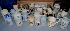 Collection of 33 beer mugs - glass and pottery - 2nd half of 20th century