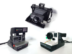 Lot of three classic polaroid instant cameras: Polaroid EE100 Special Land Camera with original softbag (1971) Polaroid Land Camera 1000 (1977) and Polaroid Lightmixer 630 (1988)