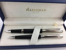 Waterman Hemisphere Deluxe set. Black, ball pen + roller.  Mint Condition.