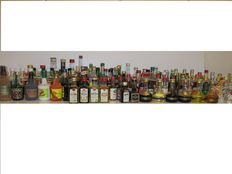 Beautiful and rare vintage collection of 126 liqueur miniature bottles.