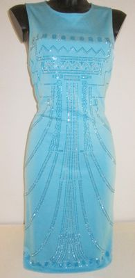 Soft-blue Versace dress decorated with glass stones
