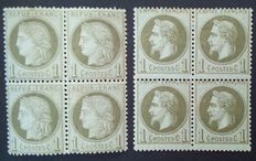 France 1870 to 1872 - Napoleon III laureate 1c bronze and Cérès perforated 1c green-olive, two blocks of four - Yvert no. 25 and 50.