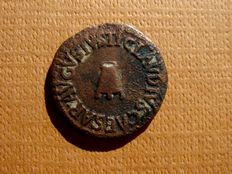 Roman Empire - Claudius I (41 - 54 A.D.) bronze quadrans (2,90 g. 18 mm.) - 42 A.D. - Rome. Modius / S.C.