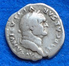Roman Empire - Silver Denarius of emperor Vespasian (69-79 A.D.), struck in Rome