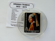 Cook Islands – 5 Dollars 2009 'Johannes Vermeer – the girl with the pearl earring' silver with a genuine pearl