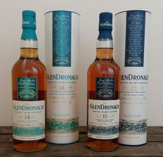 2 bottles - GlenDronach 14 years old Virgin Oak Finish  &  GlenDronach 15 years old Twany Port Finish