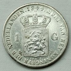 The Netherlands – 1 guilder coin, 1844, Willem II, silver.