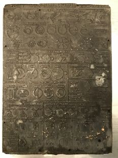 Large old printing buffer, lead on wood. It represents a summary of geometry, in the tradition of encyclopedias.