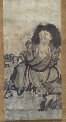 Huge old handpainted scroll painting of Toad Sage 蝦蟇仙人 (211 cm!) - Japan - 1850 / second half 19th century